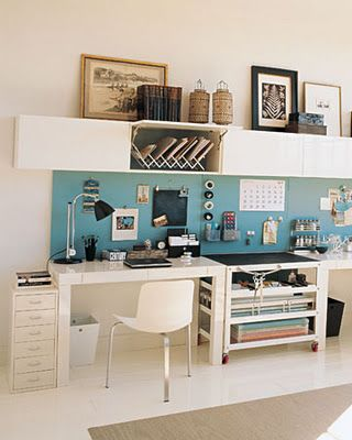DESK IDEA!!!  Long desk space, back board, storage up top. Great light colors for a basement office area.