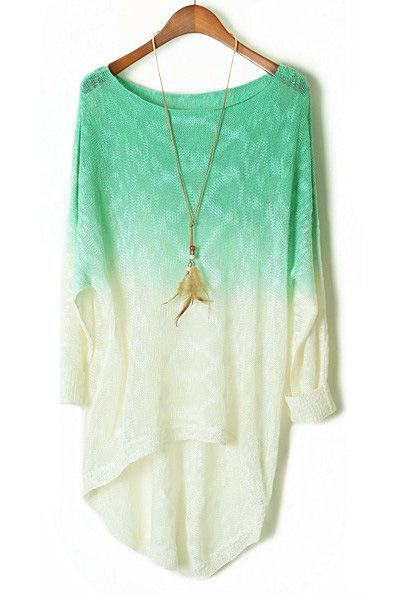 Mint Ombre Gradient Batwing Long Sleeve Sheer Sweater