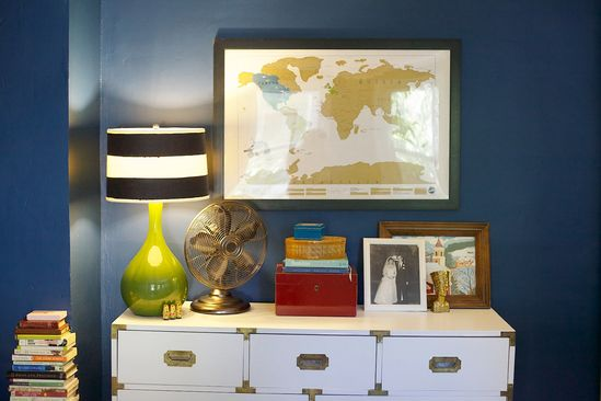 Little House Design: Bedroom with bold blue walls and campaign dresser