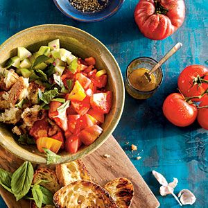 Summer Side Dishes | Bell Pepper, Tomato, Cucumber, and Grilled Bread Salad | CookingLight.com