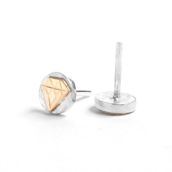 Engraved Diamond Ear Studs