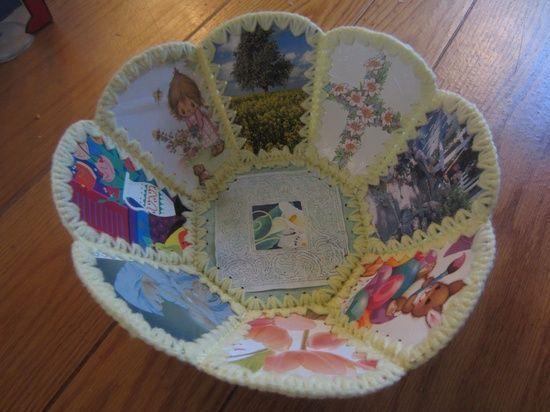 Vintage Easter Basket Vintage Upcycled Card Basket Vintage Handmade Paper Basket Jesus Big #handmade gift ideas #handmade marbles #oyin handmade review #handmade halloween cards