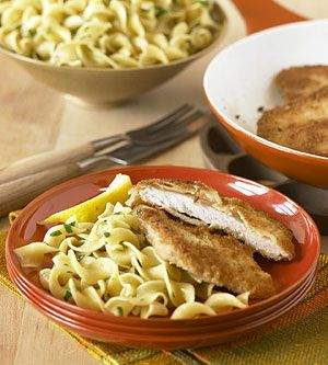 Quick Pork Schnitzel.  The pork is breaded and fried in this quick and easy German main-dish recipe. Noodles seasoned with parsley round out the meal.  I used to eat Schnitzel all the time when I lived in Germany.  Loved it!