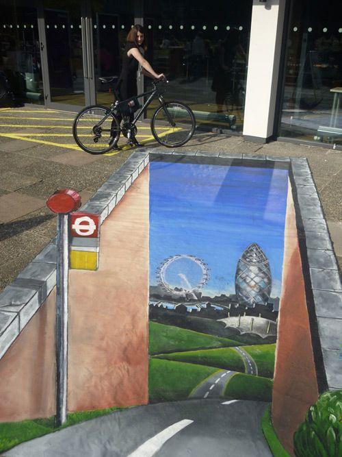3D chalk, road