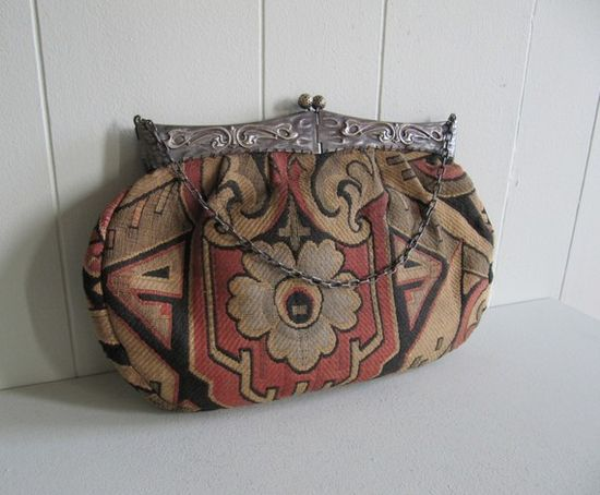 art nouveau tapestry and steel bag
