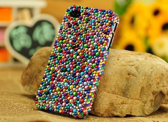 Custom Bling Colorful Crystals iPhone Cases iPhone 5 Case Multicolored Rhinestone iPhone 4 Cases iPhone 4s Case unique Phone Case/Cover. $20.99, via Etsy.