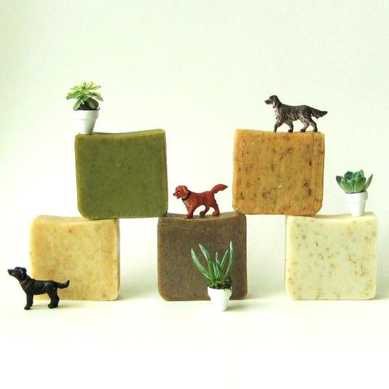 I just love the way people come up with such attractive but simply ways to make their products stand out--doesn't this make you want to not only buy the soap, but get out your childhood tub toys and make a whole day out of bathing?  Handmade Soap  Choose Any 5 Bars of Vegan Organic by prunellasoap, $31.00