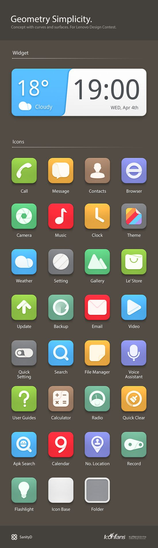 Simple, flat icons