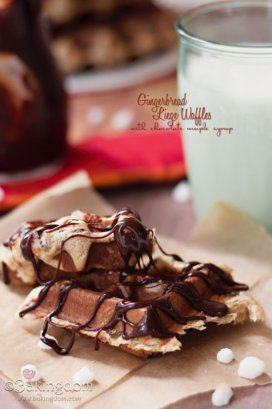 Gingerbread Liege Waffles with Chocolate Maple Syrup #cuudulieutransang