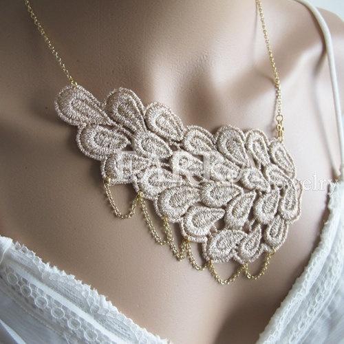 Khaki lace jewelry  lace necklace  bridal lace  by FARRAwedding, $35.00