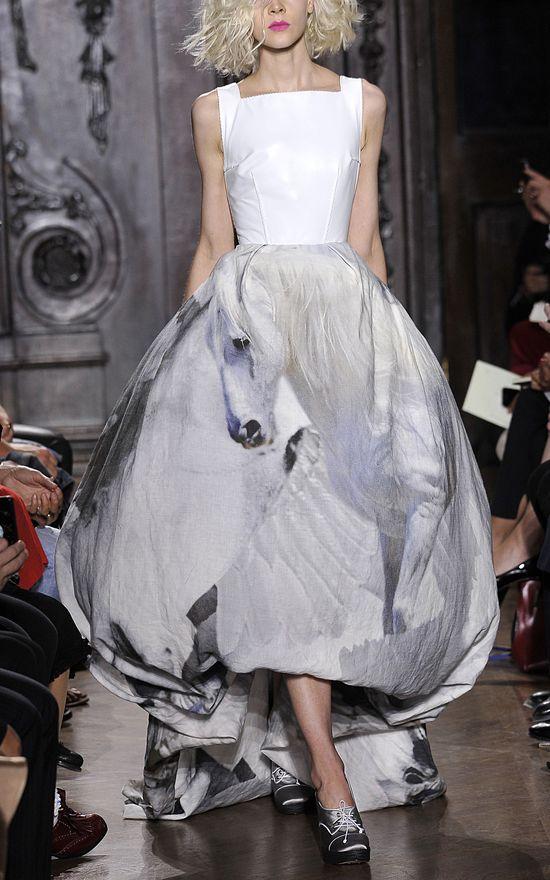 Giles Leather and Pegasus Satin Gown at Moda Operandi