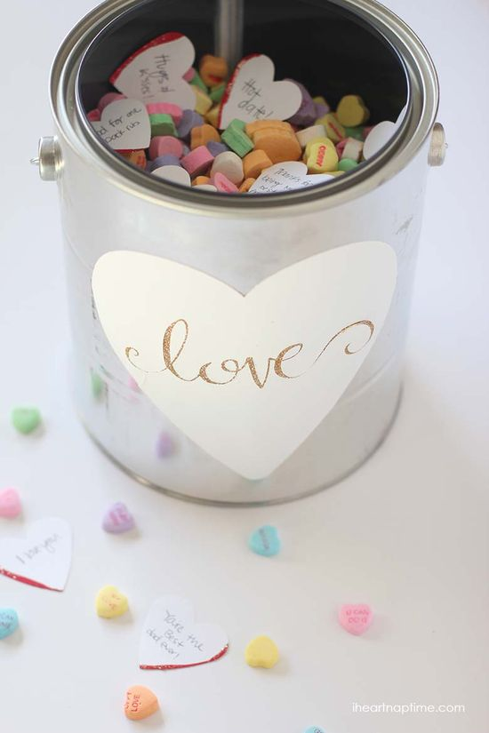 Gallon full of love gift idea on iheartnaptime.com ...so cute for Valentines Day!