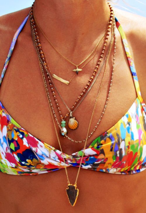 Beach necklace layering