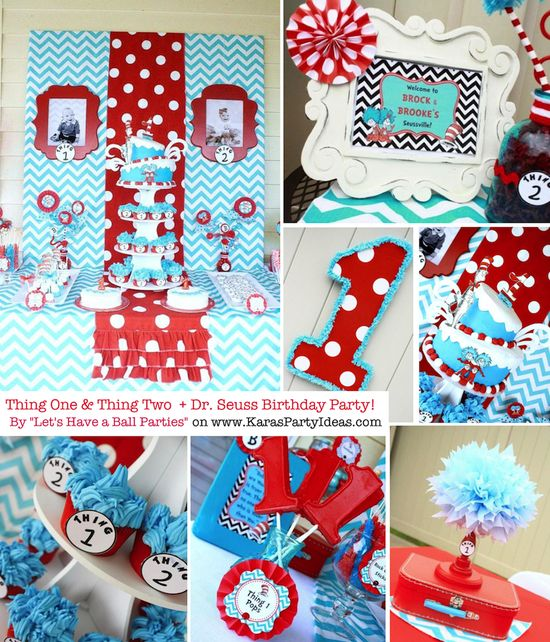 Thing One & Thing Two Dr Seuss Themed Birthday Party for twins via Karas Party Ideas karaspartyideas.com #thing #one #1 #two #2 #dr. #seuss #birthday #party #ideas #twins #cake #decor #supplies