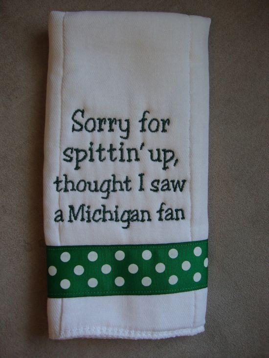 Michigan State Burp Cloth - haha!