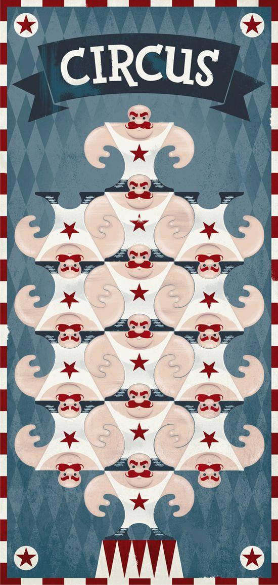 Circus Tessellation Poster #illustration