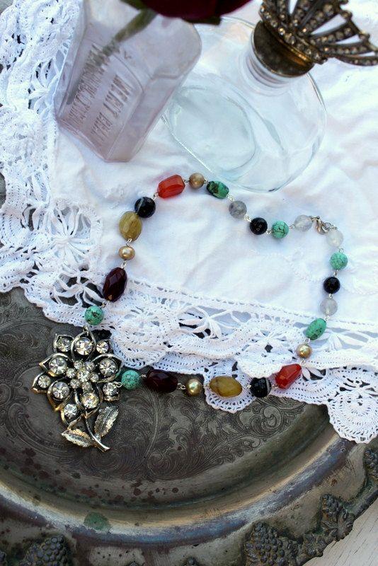 Vintage Rhinestone and Gemstone Necklace~