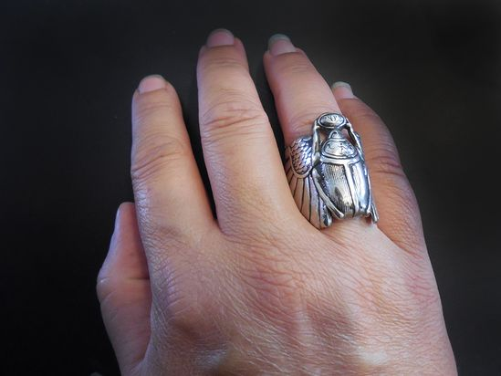 Scarab Beetle Ring in Sterling Silver « SilverBotanica – Handmade Jewelry designed by Alicia Hanson and Hi Octane Industries Inc.