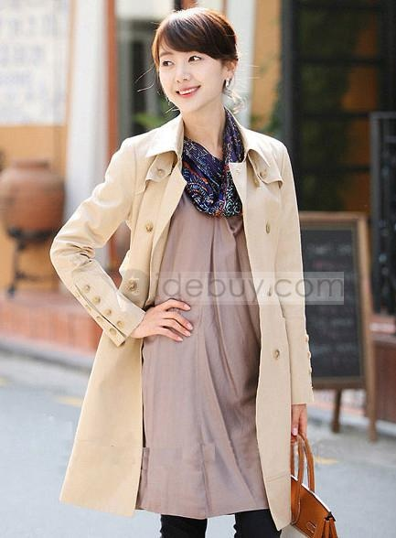 Smart Korean Style Slim Long Double Breasted Trench Coat