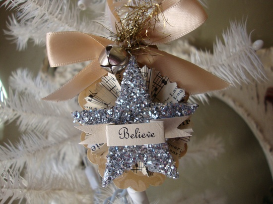 Believe Christmas ornament silver w/ vintage sheet music