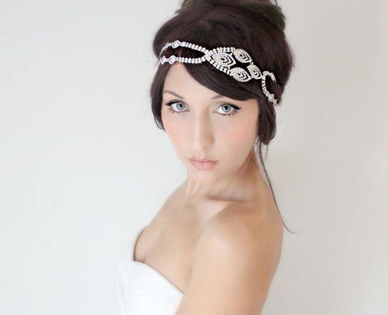 Bridal Headband Rhinestone Art Deco Flapper Bridal Hair by deLoop, $140.00