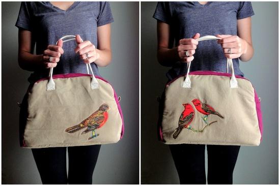 Upcycled Bird Purse, Colorblock Bright Applique Handbag, Medium Bowling Bag Purse. $75.00, via Etsy.