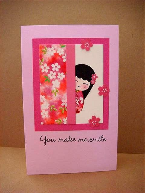 handmade card ... Asian theme ... sweet girl peeking out from behind a screen of lovely printed washi ... Make me smile by donna mikasa, via Flickr