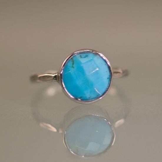 Turquoise  December Birthstone Ring   Silver Gemstone by delezhen, $66.00