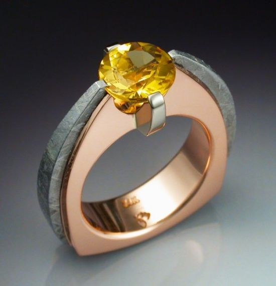 14k Rose gold ring with Heliodor and Meteorite by John Biagotti.