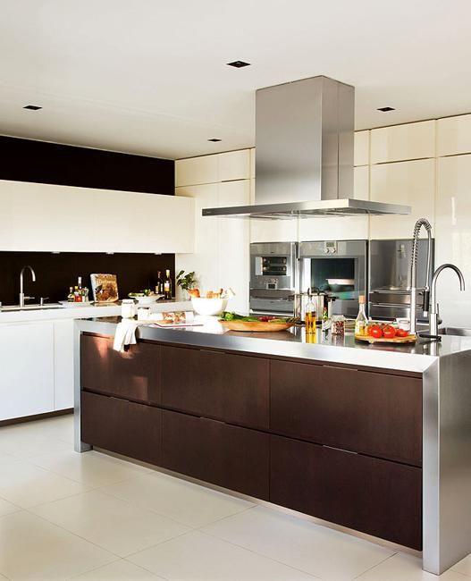 modern kitchen interior with glass wall design
