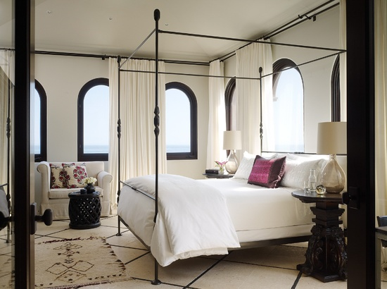 bedroom inspiration. love the layered rugs. black + white