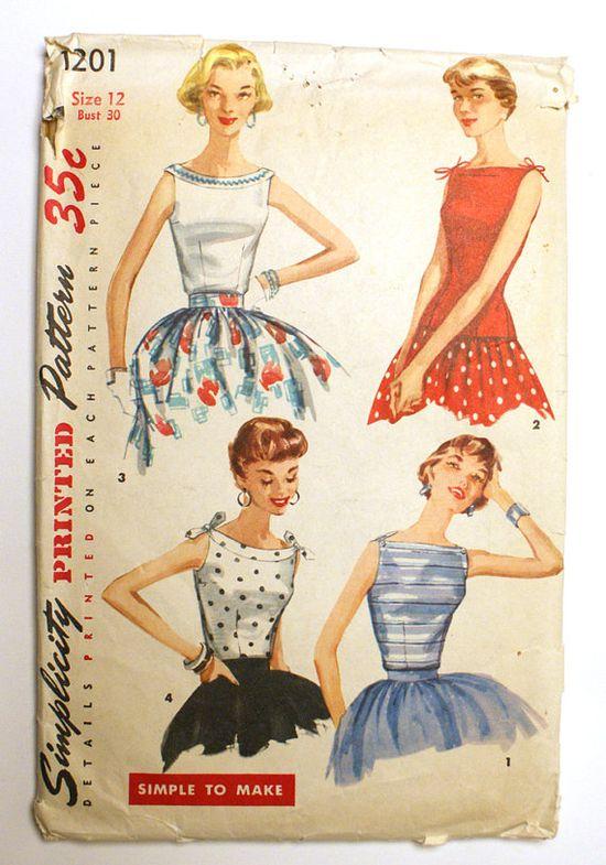 Vintage 1950s Blouse Pattern Bateau Neckline Bust 30 Simplicity 1201. $15.00, via Etsy.