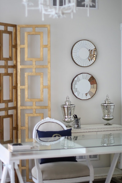 home office - brass, white, mirrors, white