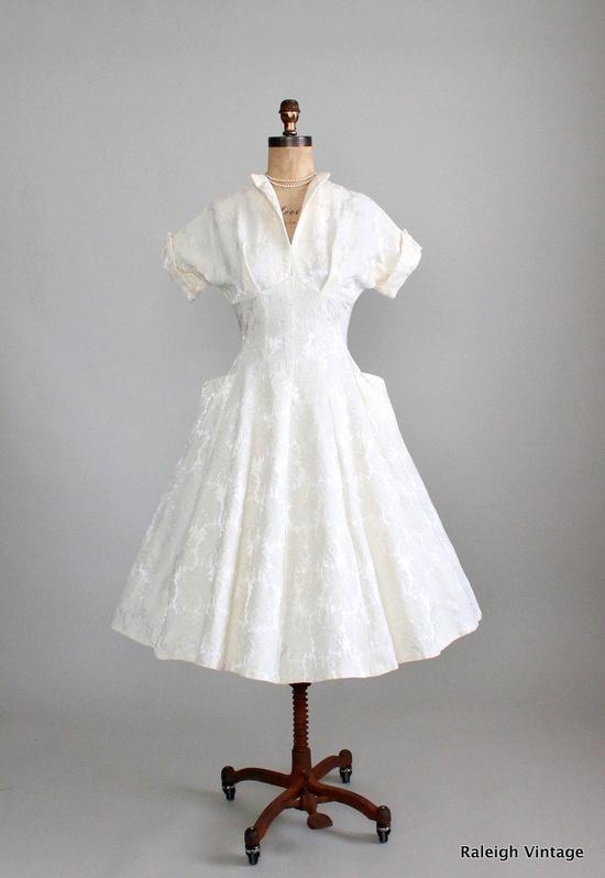 Vintage1950s Brocade New Look Wedding Dress.