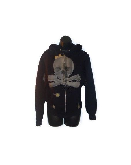 Black Skull Hoodie with Bow and Patchwork by AccursedDelights, $20.00