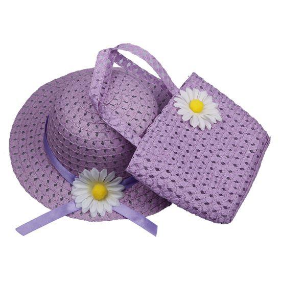 $1.97 Lovely Kids Girls Children Purple Straw Sun Hat Cap And Cute Straw Handbag Set
