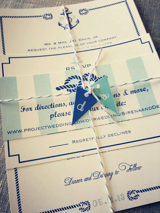 Nautical Wedding Invitation suite with rope border and anchor, tied with nautical flag tags