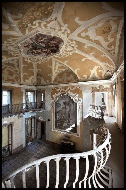 Believe it or not...an abandoned villa in Tuscany, Italy. This ceiling alone is incredible.