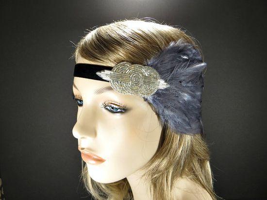 Silver Great Gatsby 1920s Flapper Headband by FlowerCouture, $30.00 #greatgatsby #headband #flapper #costume #headpiece #downtownabbey #wedding #silver #gray