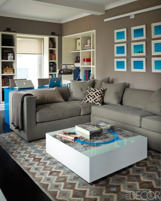 If your looking for a new living room look this one is great! Start with light grey colors and add one of your favorite colors to the room in pictures on the wall or as a desk, just to give it the calm vibe your looking for!