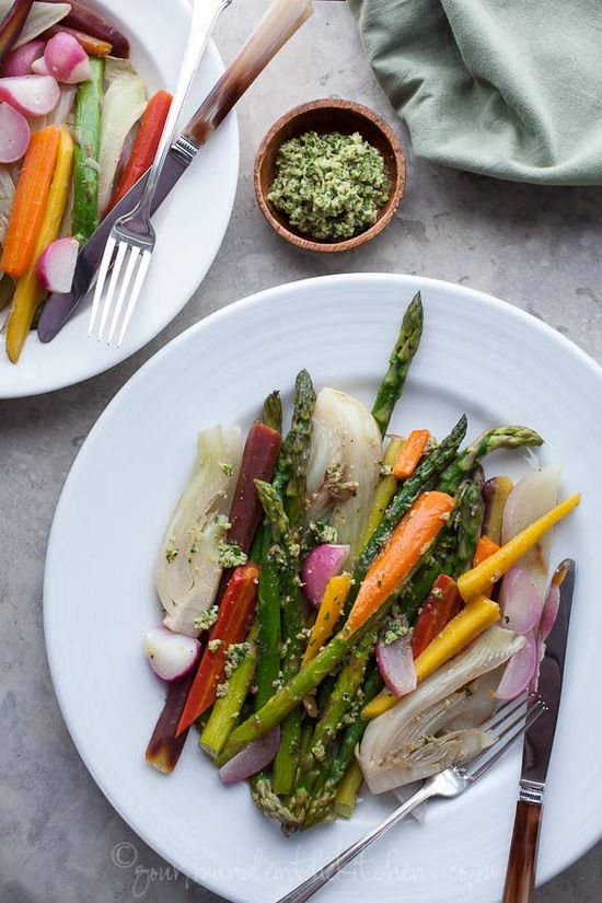 Braised Vegetables with Green Olive Pesto - put this on my Memorial Day menu!