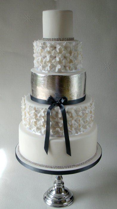 Silver Leaf White Wedding Cake