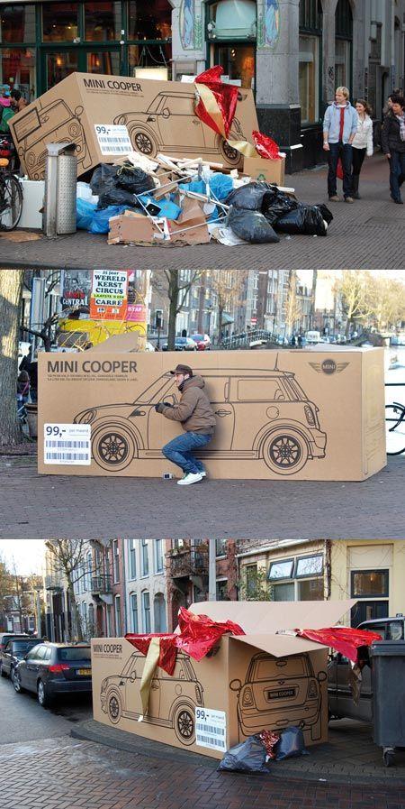 Too cute! Mini Cooper - Street & Ambient Marketing