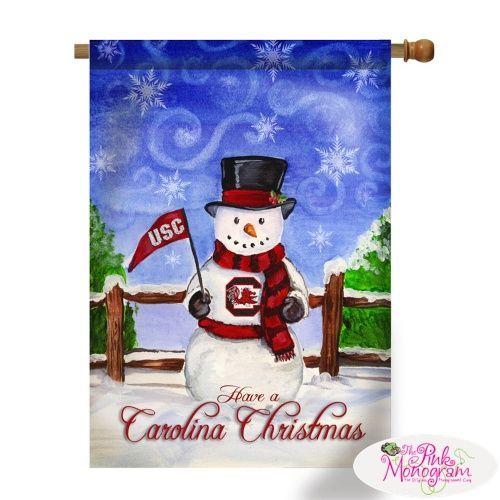 Monogrammed Collegiate Christmas Snowman House Flags  Home & Garden > Decor > Seasonal & Holiday Decorations