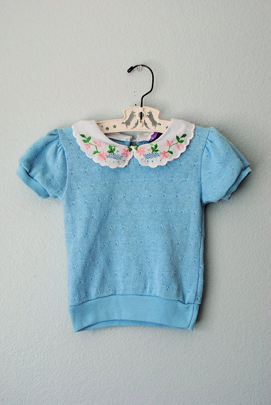 vintage ll toddler girl blue spring sweater.
