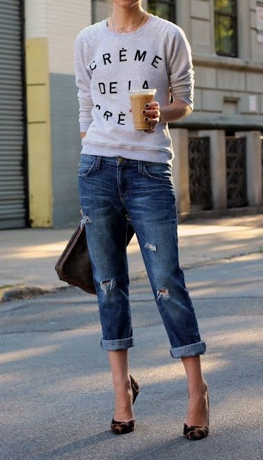 boyfriend jeans & heals & coffee...think i might diy some distressed jeans