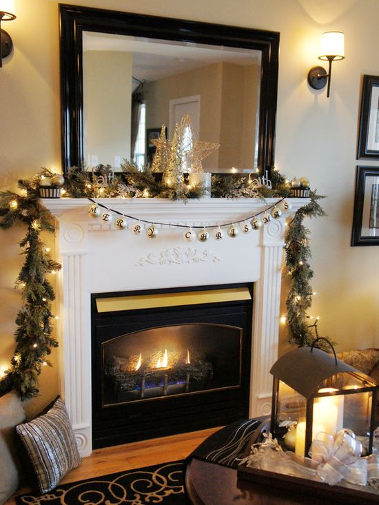 Beautiful Fireplace for Christmas: Pine swag with glittering lights and ornaments. www.hgtv.com/...