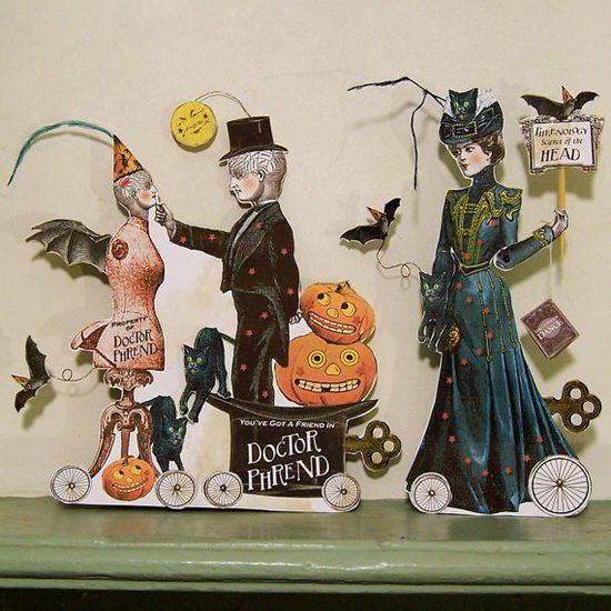 Vintage Steampunk Halloween Paper Doll