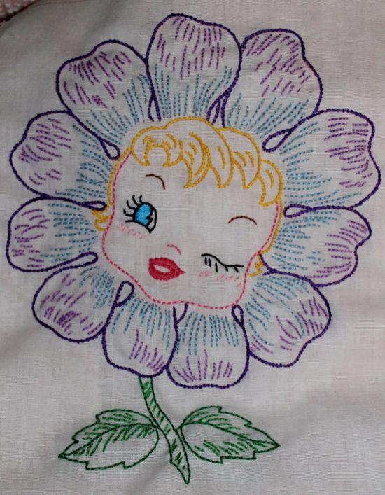 Vintage embroidery flower