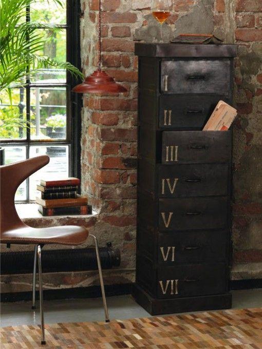 very industrial chic... loving it! Brick wall metal cabinet interior design
